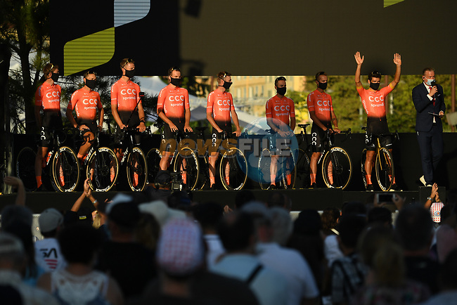 CCC Team on stage at the team presentation before the Tour de France 2020, Nice, France. 27th August 2020.<br /> Picture: ASO/Alex Broadway | Cyclefile<br /> All photos usage must carry mandatory copyright credit (© Cyclefile | ASO/Alex Broadway)