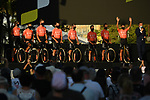 CCC Team on stage at the team presentation before the Tour de France 2020, Nice, France. 27th August 2020.<br /> Picture: ASO/Alex Broadway   Cyclefile<br /> All photos usage must carry mandatory copyright credit (© Cyclefile   ASO/Alex Broadway)