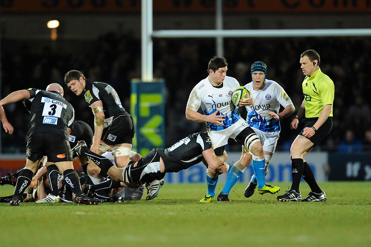 Francois Louw of Bath Rugby in action during the LV= Cup match between Exeter Chiefs and Bath Rugby at Sandy Park Stadium on Sunday 5th February 2012 (Photo by Rob Munro)