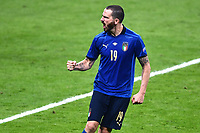 6th July 2021; Wembley Stadium, London, England; Euro 2020 Football Championships semi-final, Italy versus Spain;  Leonardo Bonucci celebrates scoring his penalty shoot out kick