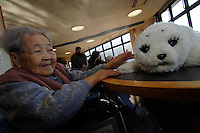 Shiba Ichi, 94, at The To Youra Nursing Home where the old people interact with the Paro robotic seal that is designed to interact like a pet with the residents. The robot is currently being tested at some old aged people's homes in Japan where they are being used to help the old people bond with the interactive animals.