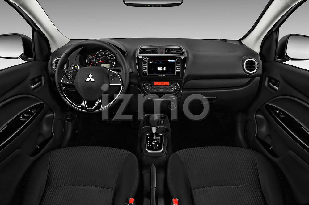 Stock photo of straight dashboard view of 2017 Mitsubishi Mirage-G4 SE-CVT 4 Door Sedan Dashboard