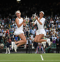10th July 2021. Wilmbledon, SW London England. Wimbledon Tennis Championships 2021, Ladies doubles final;  Su-Wei Hsieh TPE and Elise Mertens Belgium pose with their winners trophies