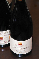 Bottle of Michel and Stephane Ogier Les Embruns Cote Rotie 2001, detail of the label.  Ampuis, Cote Rotie, Rhone, France, Europe