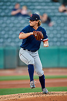 Ben Onyshko (19) of the Tacoma Rainiers delivers a pitch to the plate against the Salt Lake Bees at Smith's Ballpark on May 13, 2021 in Salt Lake City, Utah. The Rainiers defeated the Bees 15-5. (Stephen Smith/Four Seam Images)