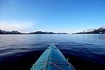 Alaska, Sea kayaker, Prince William Sound, Knight Island Passage, kayak bow,.