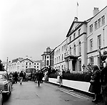 Beatles 1967 Fans and the bus on a grey day at start of Magical Mystery Tour at The Royal Hotel in Teignmouth, Devon 12th September 1967.<br /> © Chris Walter