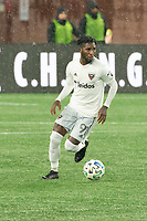 FOXBOROUGH, MA - NOVEMBER 1: Oniel Fisher #91 of DC United during a game between D.C. United and New England Revolution at Gillette Stadium on November 1, 2020 in Foxborough, Massachusetts.