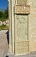 Pictures and images of bas relief sculpture of archangels on the chapel in the historic medieval Kintsvisi Monastery Georgian Orthodox Monastery complex, Shida Kartli Region, Georgia (country).<br /> <br /> Kintsvisi Monastery is the best preserved example of Georgian architecture of the 12th and 15th centuries, the so called Georgian Golden Age.