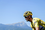 Race leader Julian Alaphilippe (FRA) Deceuninck-Quick Step climbs during Stage 18 of the 2019 Tour de France running 208km from Embrun to Valloire, France. 25th July 2019.<br /> Picture: ASO/Pauline Ballet | Cyclefile<br /> All photos usage must carry mandatory copyright credit (© Cyclefile | ASO/Pauline Ballet)
