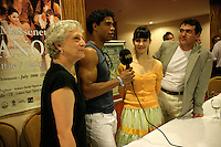 Carlos Acosta being interviewed for Turkish television in advance of The Royal Ballet, Covent Garden's performance of Manon at the Aspendos Theatre, Antalya, Turkey. From left to right, Monica Mason (director), Acosta, Tamara Rojo and Alper Unal