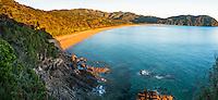 Sunrise on Totaranui beach on Abel Tasman Coast Track, Abel Tasman National Park, Nelson Region, South Island, New Zealand, NZ