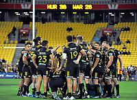 The Hurricanes huddle after the Super Rugby match between the Hurricanes and Waratahs at Westpac Stadium in Wellington, New Zealand on Saturday, 7 April 2017. Photo: Dave Lintott / lintottphoto.co.nz