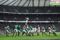 Maro Itoje of England secures the lineout during the NatWest 6 Nations match between England and Ireland at Twickenham Stadium on Saturday 17th March 2018 (Photo by Rob Munro/Stewart Communications)