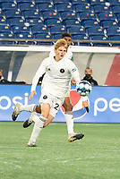 FOXBOROUGH, MA - OCTOBER 09: Ethan Hardin #25 of Fort Lauderdale CF during a game between Fort Lauderdale CF and New England Revolution II at Gillette Stadium on October 09, 2020 in Foxborough, Massachusetts.