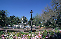 Fountain in Forsyth park, City of Savannah, Georgia USA