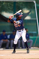 GCL Braves second baseman Luis Ovando (25) at bat during a game against the GCL Blue Jays on August 5, 2016 at ESPN Wide World of Sports in Orlando, Florida.  GCL Braves defeated the GCL Blue Jays 9-0.  (Mike Janes/Four Seam Images)