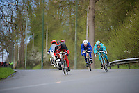 the day's breakaway being formed: Nicolas Edet (FRA/Cofidis), Paolo Tiralongo (ITA/Astana) & Jérémy Roy (FRA/FDJ) make a run for it<br /> <br /> 102nd Liège-Bastogne-Liège 2016
