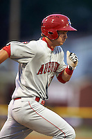 Auburn Doubledays first baseman David Kerian (21) runs to first during a game against the Batavia Muckdogs on July 8, 2015 at Dwyer Stadium in Batavia, New York.  Batavia defeated Auburn 4-1.  (Mike Janes/Four Seam Images)