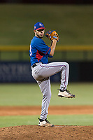 AZL Rangers relief pitcher Erne Valdes (33) delivers a pitch during an Arizona League playoff game against the AZL Cubs 1 at Sloan Park on August 29, 2018 in Mesa, Arizona. The AZL Cubs 1 defeated the AZL Rangers 8-7. (Zachary Lucy/Four Seam Images)