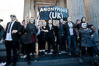 Protesters in London join a worldwide day of action against bankers and corporate greed. They held and assembly outside St Pauls Cathedral before many of them pitched tents to remain there.