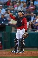 Buffalo Bisons catcher George Kottaras (17) signals two out during a game against the Pawtucket Red Sox  on August 28, 2015 at Coca-Cola Field in Buffalo, New York.  Pawtucket defeated Buffalo 7-6.  (Mike Janes/Four Seam Images)