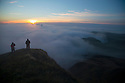 12/10/14 <br /> <br /> With much of the country shrouded in early morning fog, photographers climb to the summit of Mam Tor in the Derbyshire Peak District to witness the spectacle of dawn breaking above Castleton.<br /> <br /> All Rights Reserved: F Stop Press Ltd. +44(0)1335 300098   www.fstoppress.com.