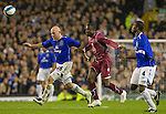Everton 3 Larissa 1, 25/10/2007. Goodison Park, Europa League Group A. Former Everton striker Victor Anichebe (centre) takes on opponents as Everton take on AE Larissa (maroon shirts) at Goodison Park, Liverpool in their UEFA Cup Group A match. Everton beat the Greek team by three goals to one on the opening night of group matches in the UEFA Cup. It was the first meeting between the two clubs. Photo by Colin McPherson.