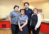 Pictured L-R: Colleagues of the lotto winners Sian Hughes, Kay Clark, Mick Mak and Andrea Davies. Thursday 09 November 2017<br /> Re: Presentation of hospital catering syndicate win £25m in Euromillions Jackpot at Hensol Castle, south Wales, UK. Julie Saunders, 56, Doreen Thompson, 56, Louise Ward, 37, Jean Cairns, 73, SIan Jones, 54 and Julie Amphlett, 50 all work as catering staff for Neath Port Talbot Hospital in south Wales.