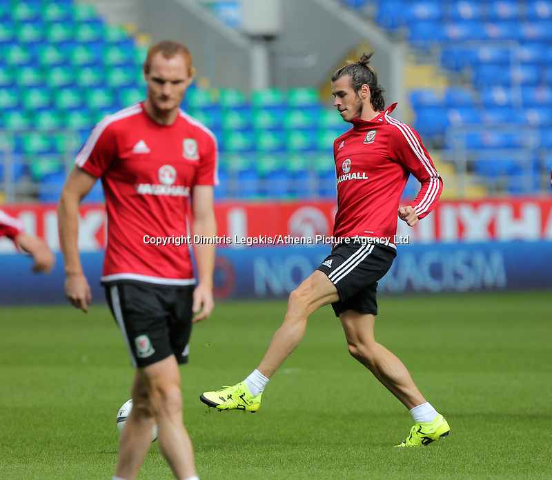 CARDIFF, WALES - SEPTEMBER 05: Gareth Bale in action during the Wales training session, ahead of the UEFA Euro 2016 qualifier against Israel, at the Cardiff City Stadium on September 5, 2015 in Cardiff, Wales.