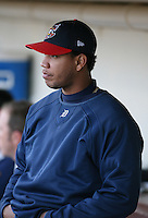 2007:  Yorman Bazardo of the Toledo Mudhens watches the game from the dugout vs. the Rochester Red Wings in International League baseball action.  Photo By Mike Janes/Four Seam Images