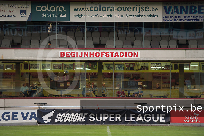 illustration picture of the Begijnhofstadion with the Scooore Superleague banners pictured during a female soccer game between RSC Anderlecht Dames and AA Gent Ladies  on the fourth matchday of the 2021 - 2022 season of Belgian Womens Super League , friday 10 th of September 2021 in Overijse , Belgium . PHOTO SPORTPIX | DIRK VUYLSTEKE