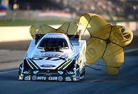 Sept 8, 2012; Clermont, IN, USA: NHRA funny car driver Mike Neff during qualifying for the US Nationals at Lucas Oil Raceway. Mandatory Credit: Mark J. Rebilas-