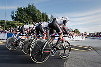 team Sunweb accelerating out of the start box<br /> <br /> Men's Team Time Trial<br /> <br /> UCI 2017 Road World Championships - Bergen/Norway