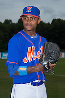 Kingsport Mets pitcher Adrian Almeida (3) poses for a photo prior to the game against the Elizabethton Twins at Hunter Wright Stadium on July 8, 2015 in Kingsport, Tennessee.  The Mets defeated the Twins 8-2. (Brian Westerholt/Four Seam Images)