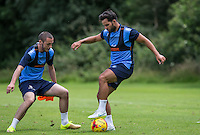 Sam Wood takes on Michael Harriman during the Wycombe Wanderers 2016/17 Pre Season Training Session at Wycombe Training Ground, High Wycombe, England on 1 July 2016. Photo by Andy Rowland / PRiME Media Images.