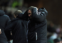 Wednesday, 12 December 2012<br /> Pictured: Middlesbrough manager Tony Mowbray holds his head in disappointment over a missed chance by one of his players.<br /> Re: Capital One Cup, fifth round, Swansea City FC v Middlesbrough at the Liberty Stadium, south Wales.