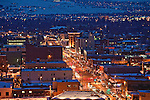 Night scene of the Missoula, Montana valley and downtown area in winter