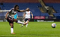 Bolton Wanderers' Peter Kioso shoots at goal <br /> <br /> Photographer Andrew Kearns/CameraSport<br /> <br /> The EFL Sky Bet League Two - Bolton Wanderers v Mansfield Town - Tuesday 3rd November 2020 - University of Bolton Stadium - Bolton<br /> <br /> World Copyright © 2020 CameraSport. All rights reserved. 43 Linden Ave. Countesthorpe. Leicester. England. LE8 5PG - Tel: +44 (0) 116 277 4147 - admin@camerasport.com - www.camerasport.com