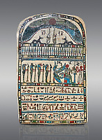 Ancient Egyptian stele dedicated by high priest Padiamenemipet to Ra-Harakhty, limestone, Late Period, 26th Dynasty, (580-520 BC), Deir el-Medina, Cat 1574. Egyptian Museum, Turin. Grey background.<br /> <br /> the round topped stele is dedicated by high priest Padiamenemipet to Ra-Harakht, Isis and the 4 sons of Horus. It was gifted by the Cairo Museum.