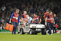 Paul O'Connell of Ireland inhales gas and air to relieve the pain as he is stretchered off at half time during Match 39 of the Rugby World Cup 2015 between France and Ireland - 11/10/2015 - Millennium Stadium, Cardiff<br />Mandatory Credit: Rob Munro/Stewart Communications