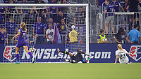 Orlando, FL - Saturday March 24, 2018: Utah Royals Gunnhildur Jonsdottir (23) watches her shot go into the goal during a regular season National Women's Soccer League (NWSL) match between the Orlando Pride and the Utah Royals FC at Orlando City Stadium. The game ended in a 1-1 draw.