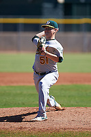Oakland Athletics pitcher Branden Kelliher (51) during an instructional league game against the Los Angeles Angels on October 9, 2015 at the Tempe Diablo Stadium Complex in Tempe, Arizona.  (Mike Janes/Four Seam Images)