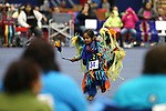 Talon Johnson, 4, warms up before the La Ka Lel Be powwow in Carson City, Nev., on Friday, Oct. 27, 2017. <br />