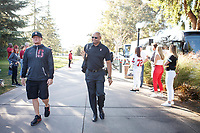 Stanford, CA - September 15, 2018: Stanford football team arrives before the Stanford vs UC Davis football game Saturday at Stanford Stadium.<br /> <br /> The Cardinal scored 30. UC Davis 10.