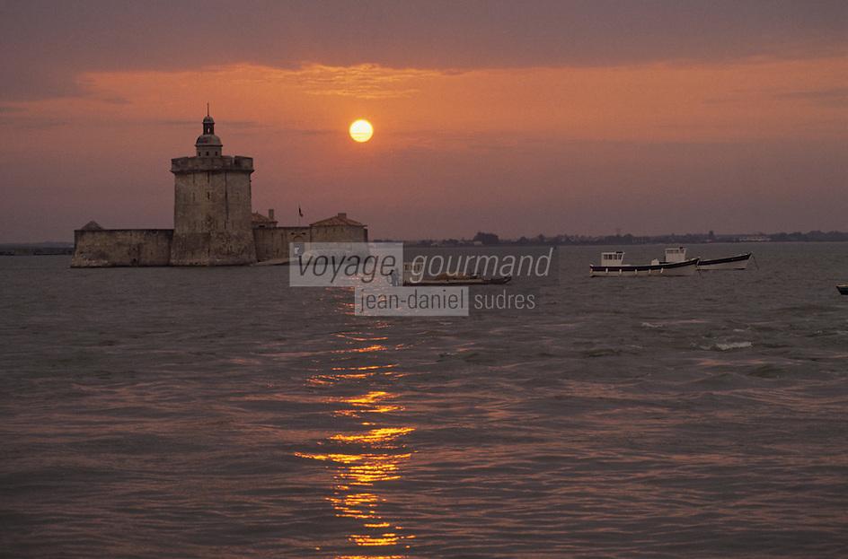 Europe/France/Poitou-Charentes/17/Charente Maritime: Soleil couchant sur le fort du Chapus (fort Louvois)