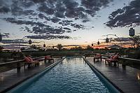 Africa, Botswana, Khwai, The Lodge, Feline Fields, edge of the Kalahari desert. Sunset.