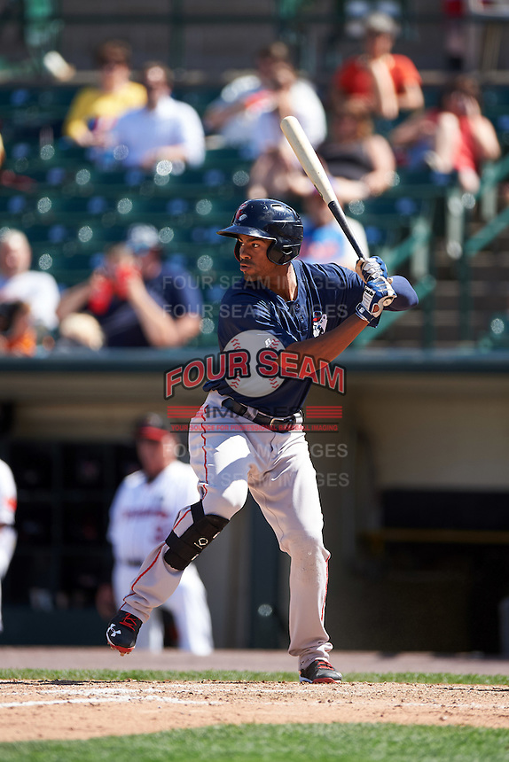 Pawtucket Red Sox right fielder Henry Ramos (34) at bat during a game against the Rochester Red Wings on June 29, 2016 at Frontier Field in Rochester, New York.  Pawtucket defeated Rochester 3-2.  (Mike Janes/Four Seam Images)