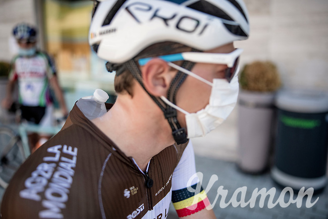 Oliver Naesen (BEL/AG2R-La Mondiale) cooling himself pre-race<br /> <br /> 101st Milano-Torino 2020 (UCI 1.Pro)<br /> 1 day race from Mesero to Stupinigi (198km)