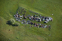 aerial photograph rural junk yard,Petaluma, Sonoma county, California